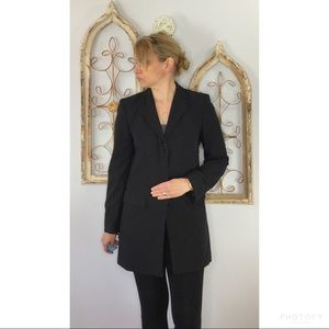 Vintage DKNY long wool blend pinstriped blazer